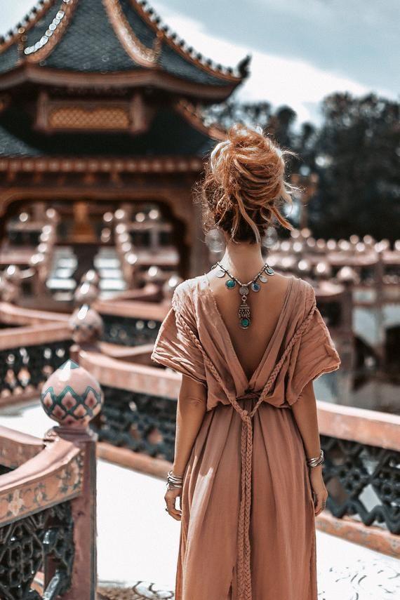 10 Colours Organic Boho Dress  Simple Wedding Dress  | Etsy 11