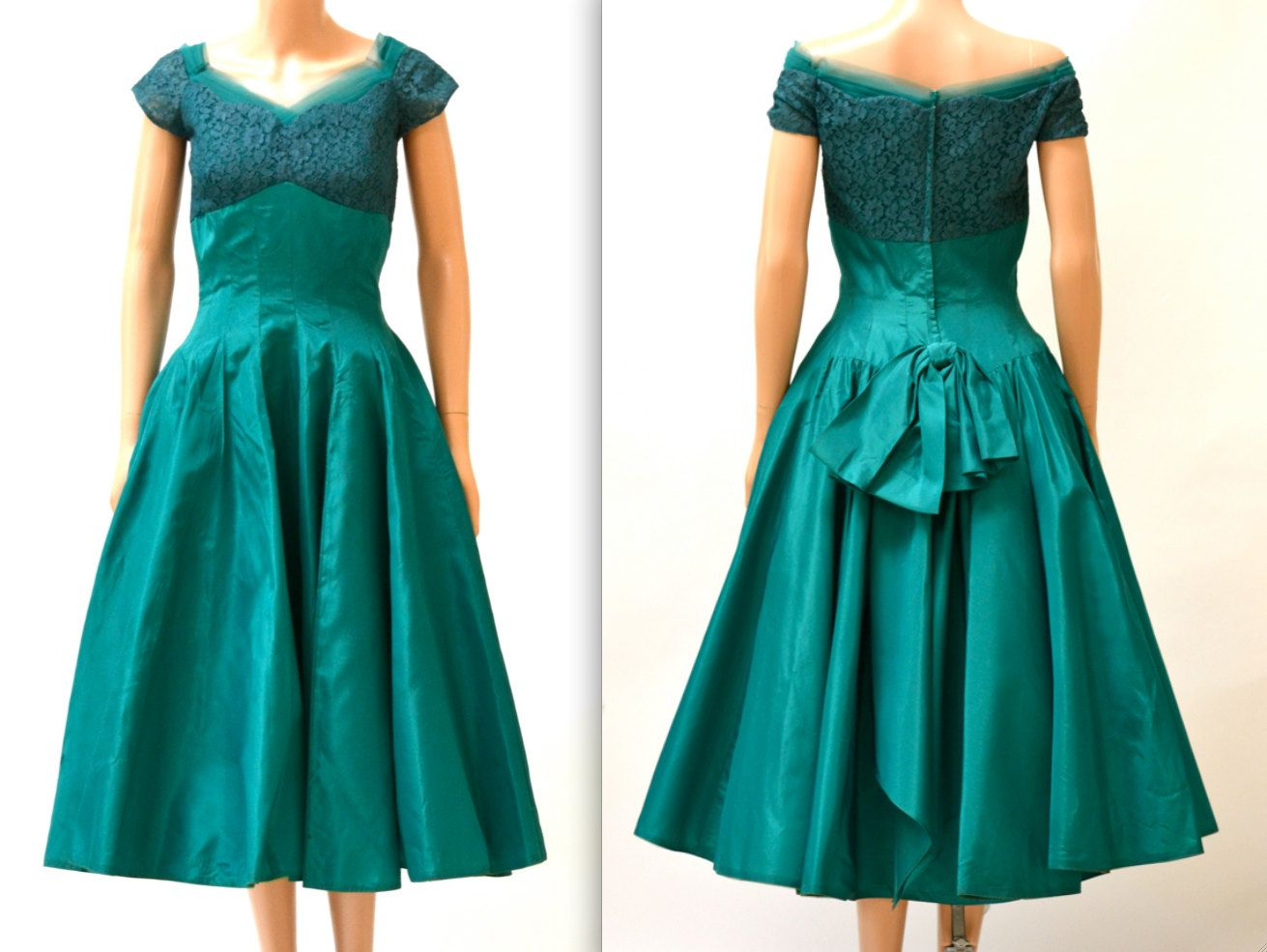Vintage 1950s Prom Dress Size Small Medium Teal Green By Emma Domb ...