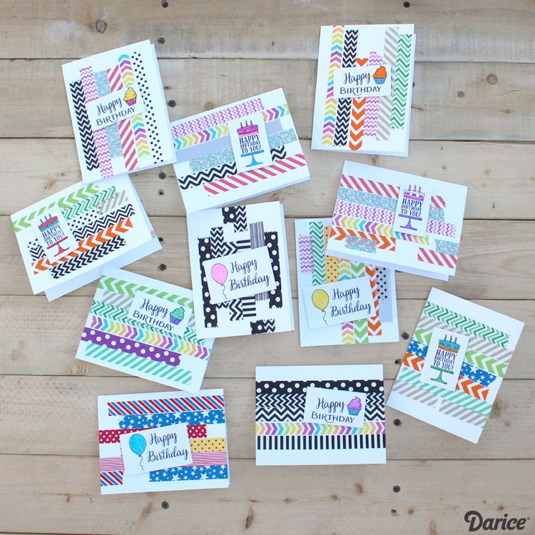 Birthday Card Ideas Handmade With Washi Tape Darice Happy Birthday Cards Diy Birthday Cards Diy Simple Birthday Cards