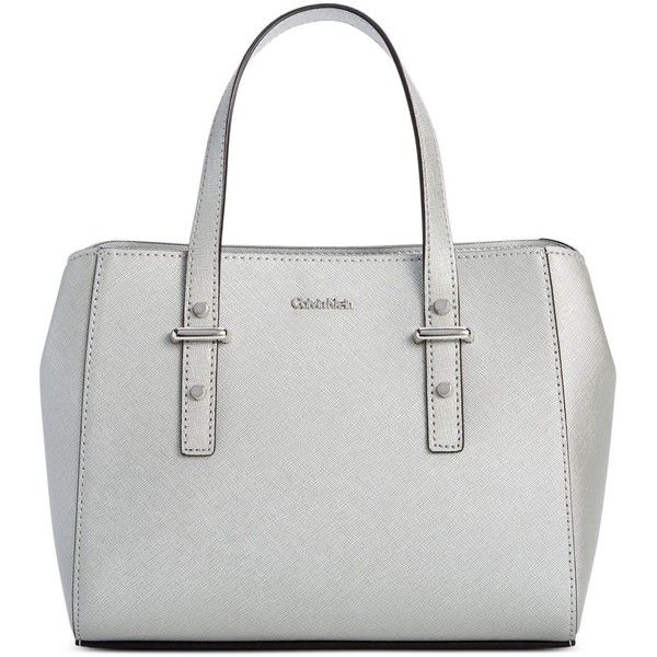 88181fc255 Calvin Klein Small Saffiano Leather Crossbody Satchel ($59) ❤ liked on  Polyvore featuring bags, handbags, smokey silver, white handbags, satchel  handbags, ...