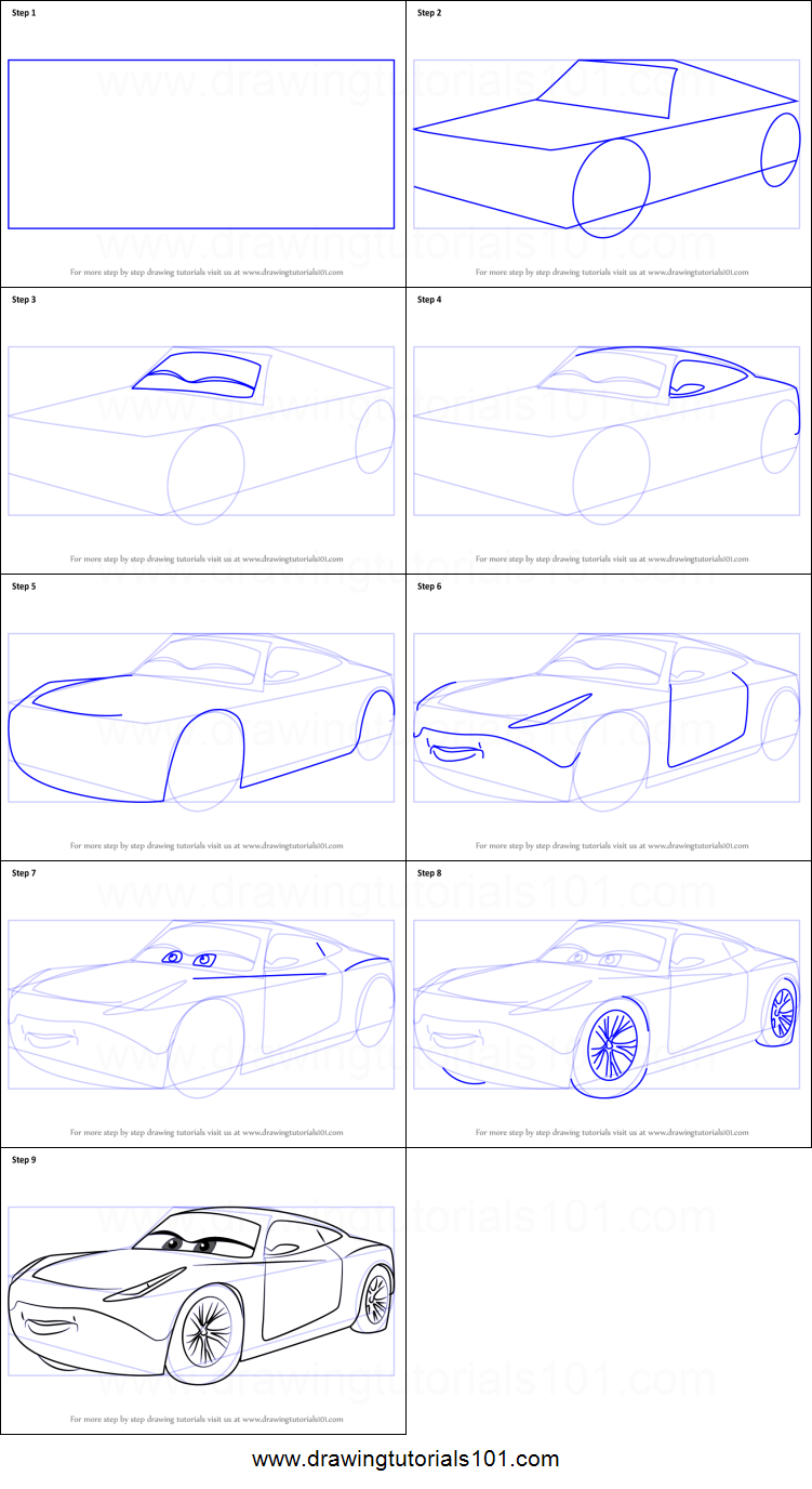 How To Draw Cruz Ramirez From Cars 3 Printable Drawing Sheet By
