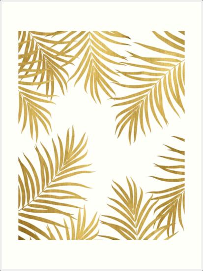 Gold Palm Leaves Vibes 1 Shiny Tropical Decor Art Art Print By Anitabellajantz Art Art Prints Artwork