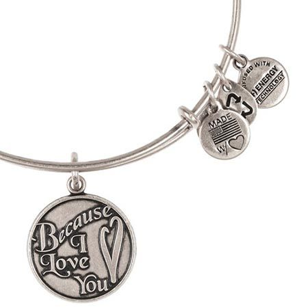 Alex And Ani Rafaelian Silver Because I Love You Expandable Wire Bangle