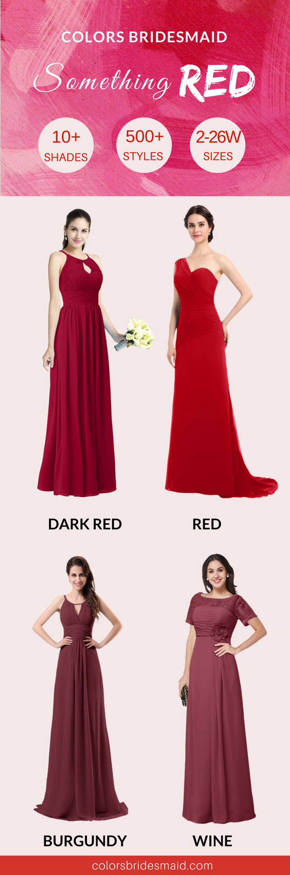 Our red bridesmaid dresses are of 10+ different color shades ...