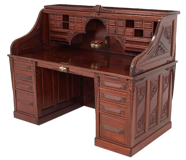 C1900 Roll Top Desk, Cutler Desk Co, Buffalo, NY, Mah, 66w, Rt17 23.