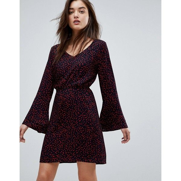 Anika Print Flounce Dress with Flared Sleeve - Navy/ red dots Only F63cOBiZ