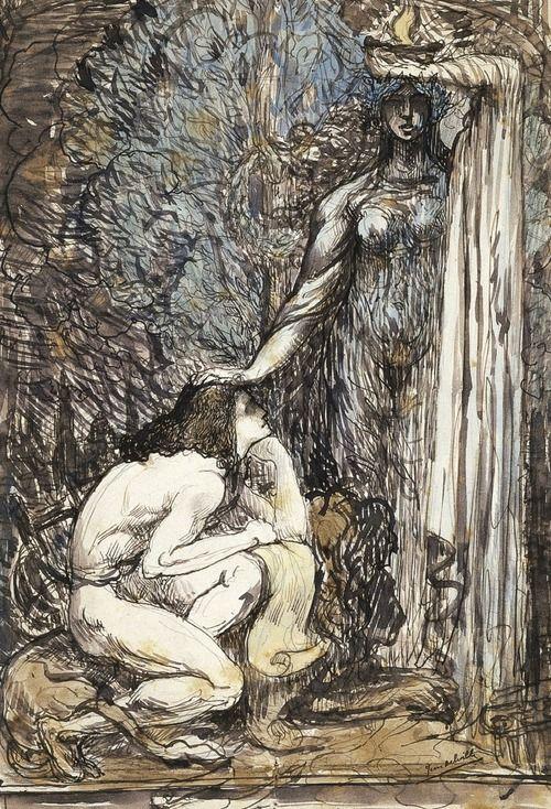 Jean Delville (1867 - 1953) - L'inspiration, ca. 1900