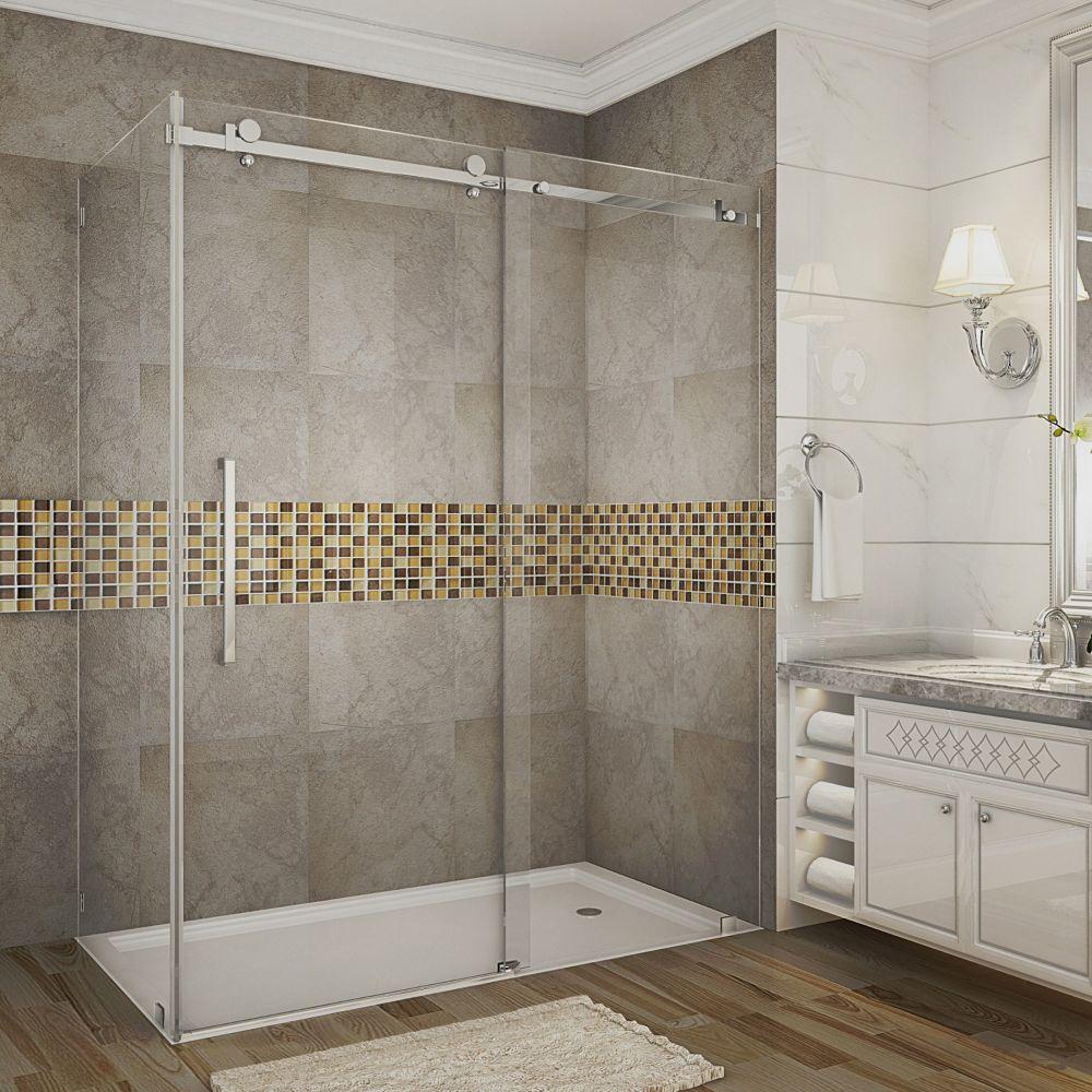 Moselle 60 Inch X 35 Inch X 75 Inch Frameless Sliding Shower Door