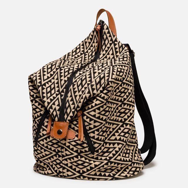 4d844f5571 Sac à dos Femme Spire - Noir Tissus jacquard décliné sur forme sac à dos  original