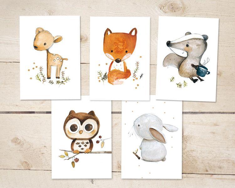 5 Waldtiere Karten / Waldtiere Kinderbilder, Einladung