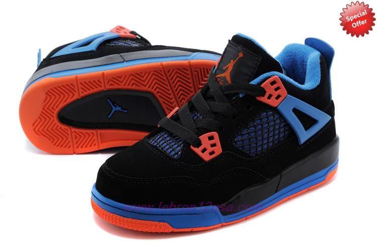 c9a33073fa3c3f ... norway discount shoes online kids air jordan 4 retro black blue orange  cavs 408452 0c1d2 eaa36