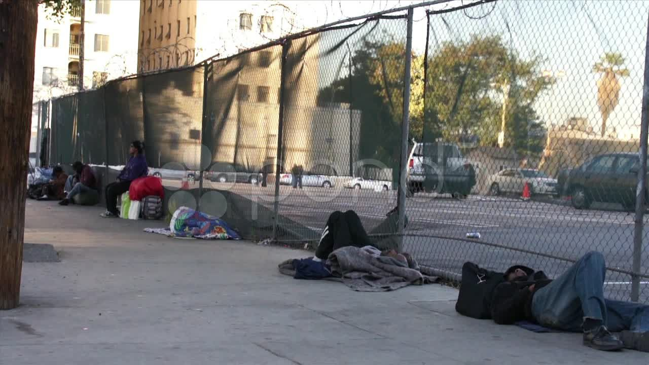 Homeless people sleeping on the streets of los angeles hd