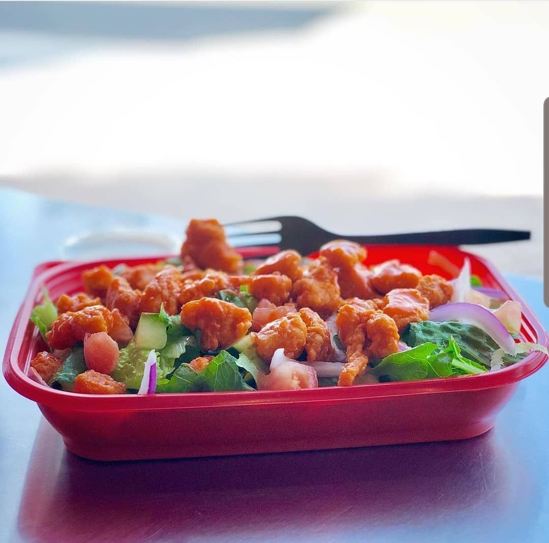 The Buffalo Chicken Salad will hit the spot tonight. You can even get it delivered!  #thebuffalospot...