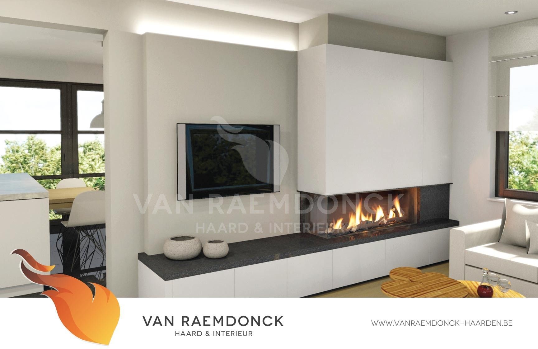 Gesloten Moderne Gashaarden Fireplace In The Living Room  # Amenager Un Coin Tele En Angle Cheminee