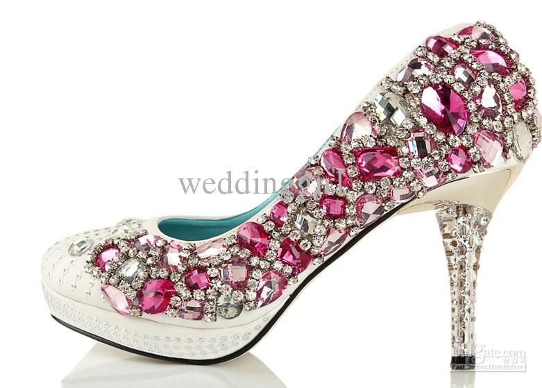 Wholesale hot seller hot pink diamond party bride dress shoes ...