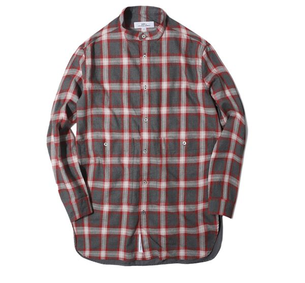 [OMBRE CHECK LONG SHIRT red]