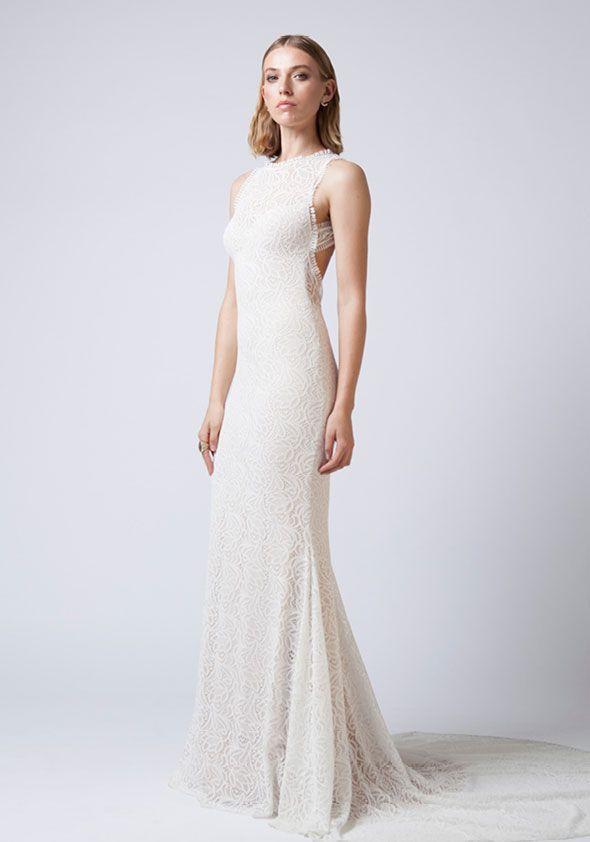 Mariana Hardwick Wedding Dresses - Incarnation bridal collection - Stretch lace wedding dress with cut-out back and high neck #weddingdress #weddinggown #weddingdresses