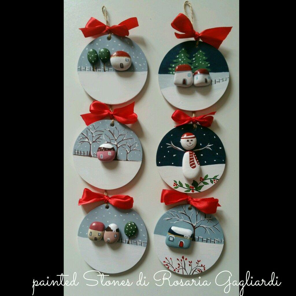 Lavoretti Di Natale Arte Per Te.Tondini In Legno Decorati Con Sassolini Ornamento Di