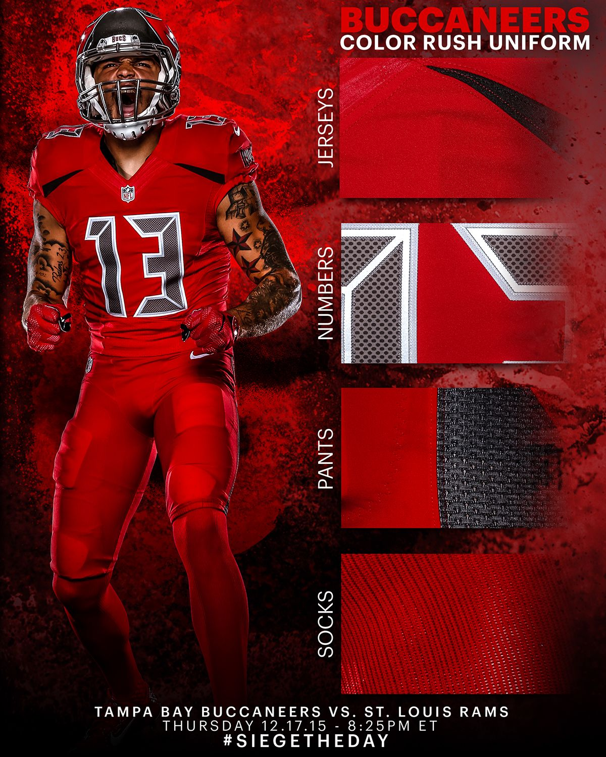 Buccaneers Color Rush Uniform Graphic On Behance Color Rush Uniforms Nfl Color Rush Uniforms Nfl Outfits