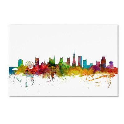 "Trademark Art ""Bristol England Skyline II"" by Michael Tompsett Graphic Art on on Wrapped Canvas Size:"