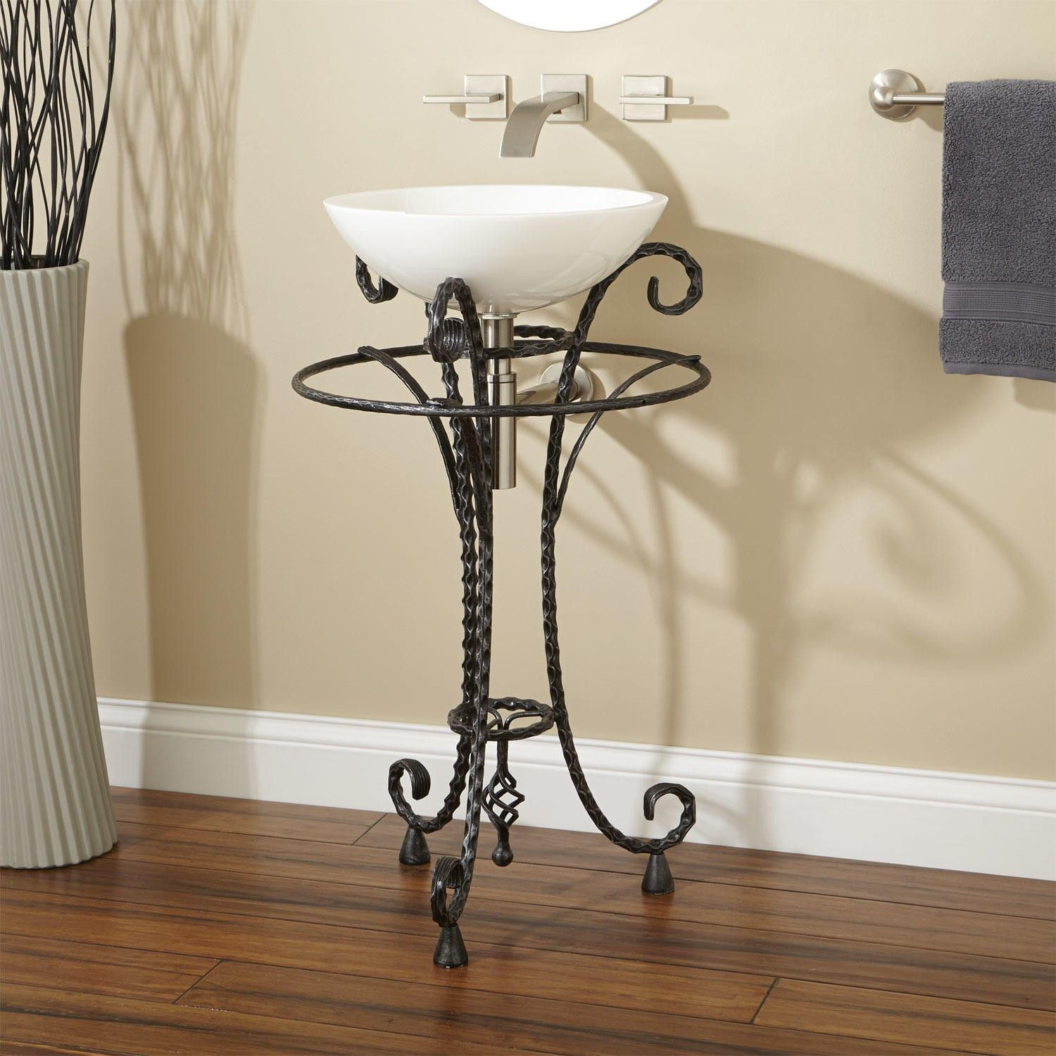 Delarue Wrought Iron Sink Stand With Towel Bar