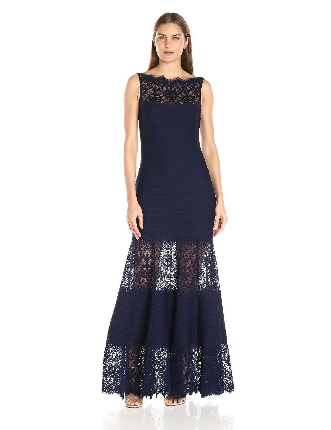0b6b630f218 Amazon.com  Tadashi Shoji Women s Pintucked Jersey Gown with Lace Illusion  Neck  Clothing