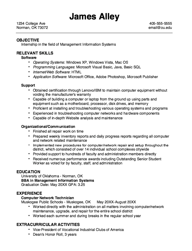 Example MIS Internship Resume