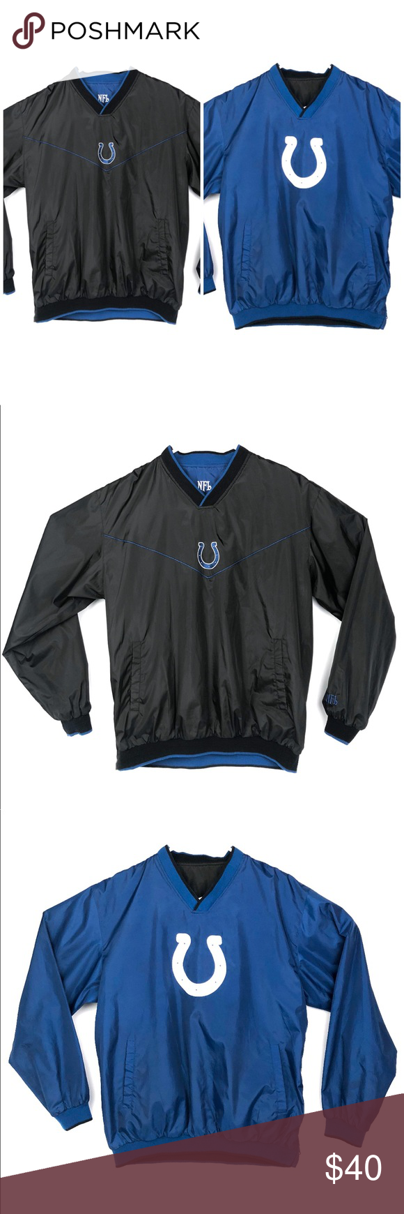 finest selection 63595 4d1d1 NFL Indianapolis Colts Reversible Pullover Jacket Actual ...