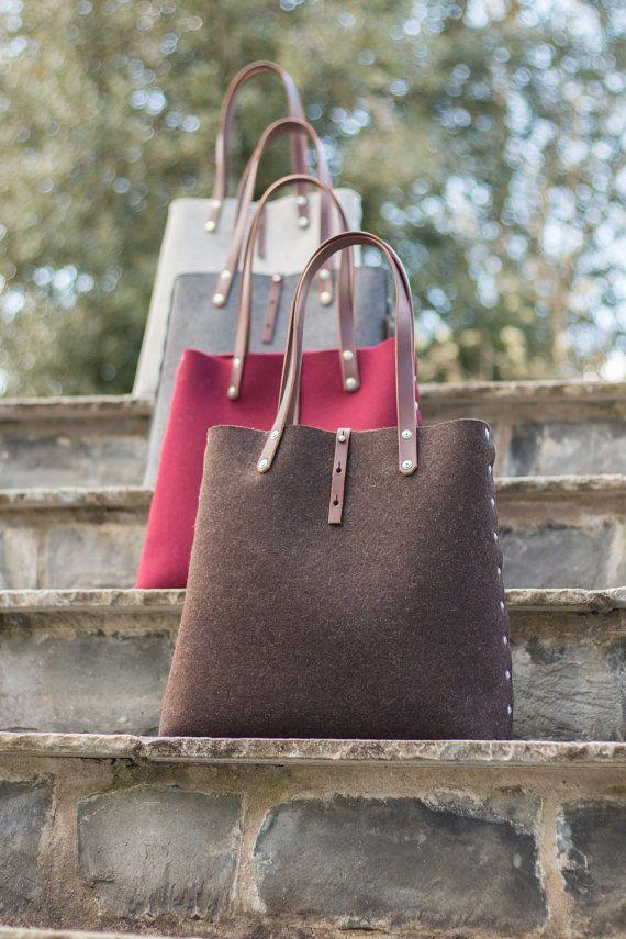 Wolle Filz Tote Shopper Tasche Filz Einkaufstasche mit | Etsy