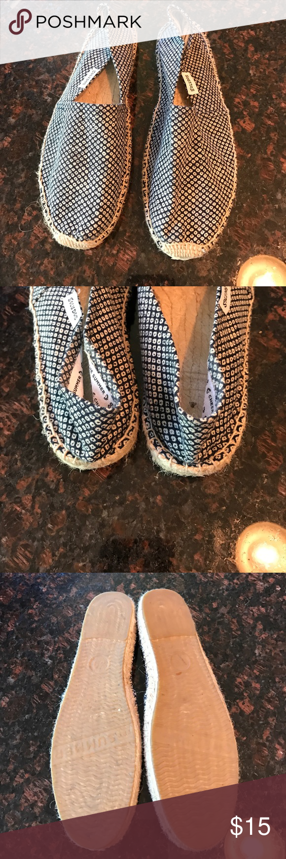 Soludos espadrille Navy/white patterned. Size 9 but fits like an 8. Soludos Shoes Espadrilles