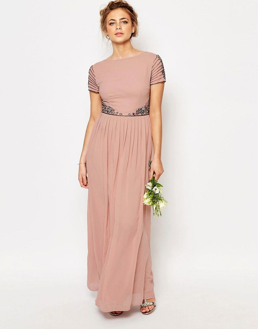 Image of maya cap sleeve maxi dress with embellished waist detail