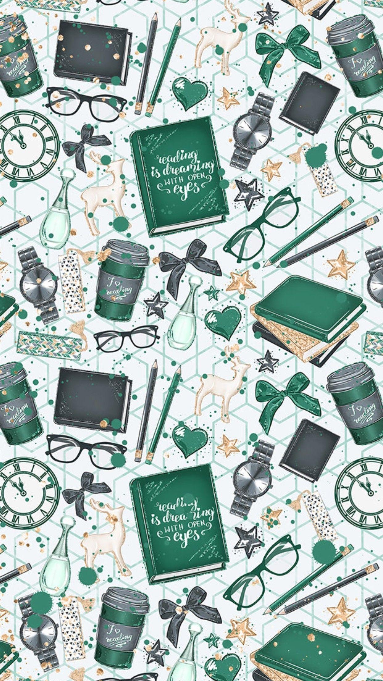 Cute Green Books Wallpaper Wallpaperwallpaperscute Wallpaper Wallpapers Cute Kertas Dinding Wallpaper Ponsel Papan Kapur