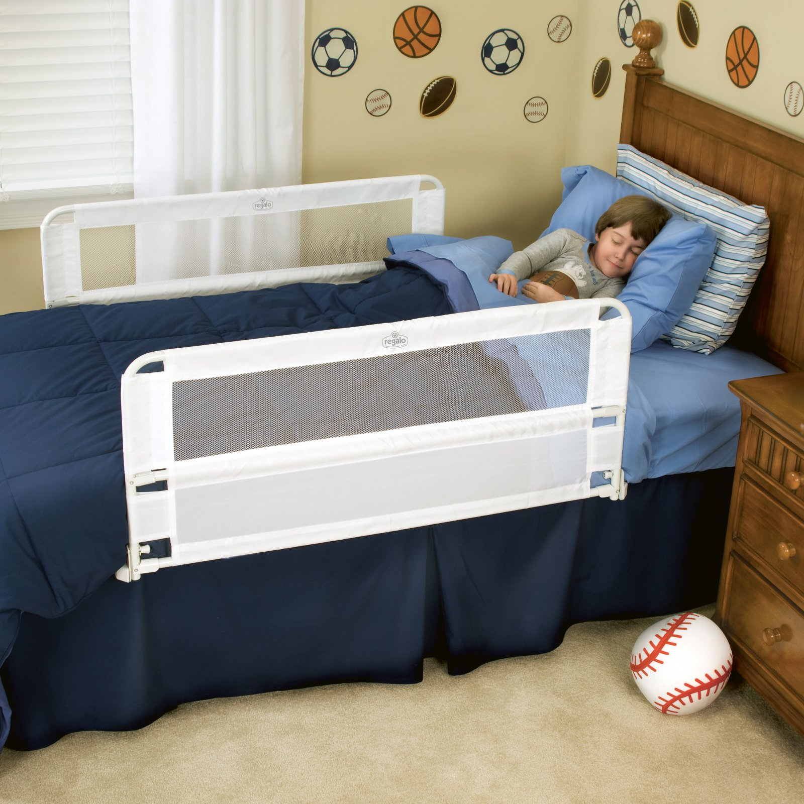 Regalo Hide Away Extra Long Bed Rail Crib Toddler Elderly Child Safety Net Guard