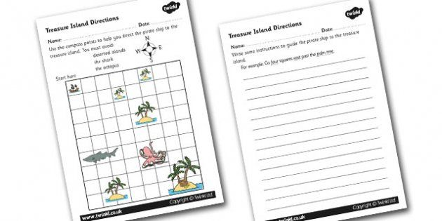 Treasure Island Directions Instruction Writing Worksheet