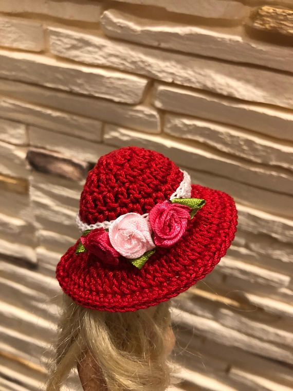 Crochet doll hat, red doll hat, doll clothing. #dollhats