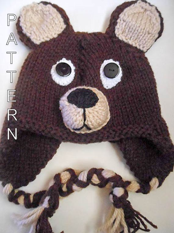 Knitting Pattern Teddy Bear Hat Animal Hat Character Hat Earflap ...