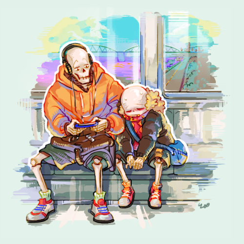 """ok but i'm a sucker for bOTH OF THEM so: underfell sans meeting underswap papyrus and he's just like """"oH GREAT IT'S YOU AGAIN"""" and papyrus is just like """"?? chill"""" and sans realizes that. not all the papyruses are the same. most of them are?? cool?? and not total dicks?? and underswap pap just kinda adopts him as his second brother by accident and when underswap sans asks him why there's an edgy red guy calling him bro he just shrugs and goes """"whoopsy doopsy"""""""