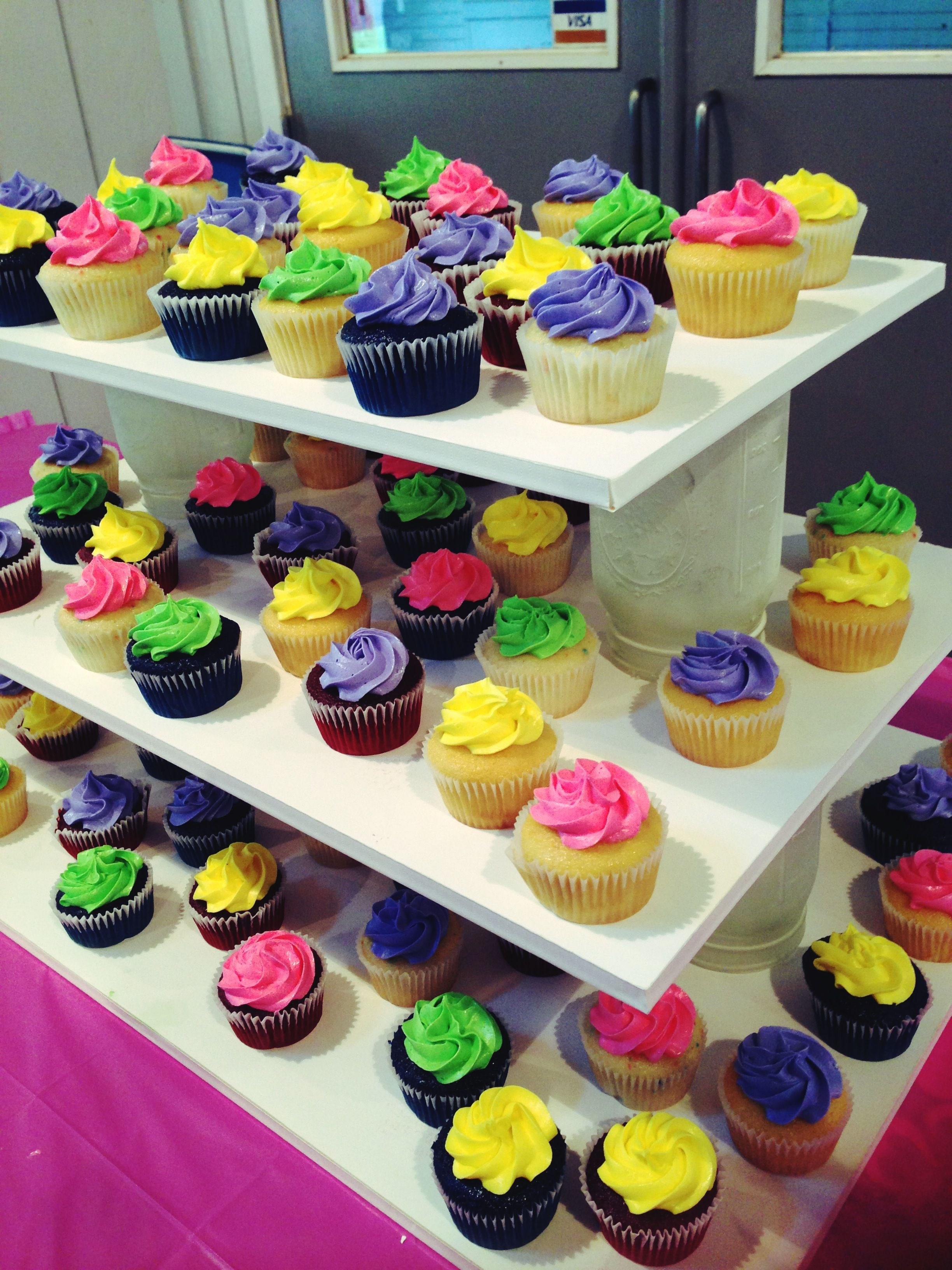 DIY cupcake tower/stand using foam boards and frosted ...