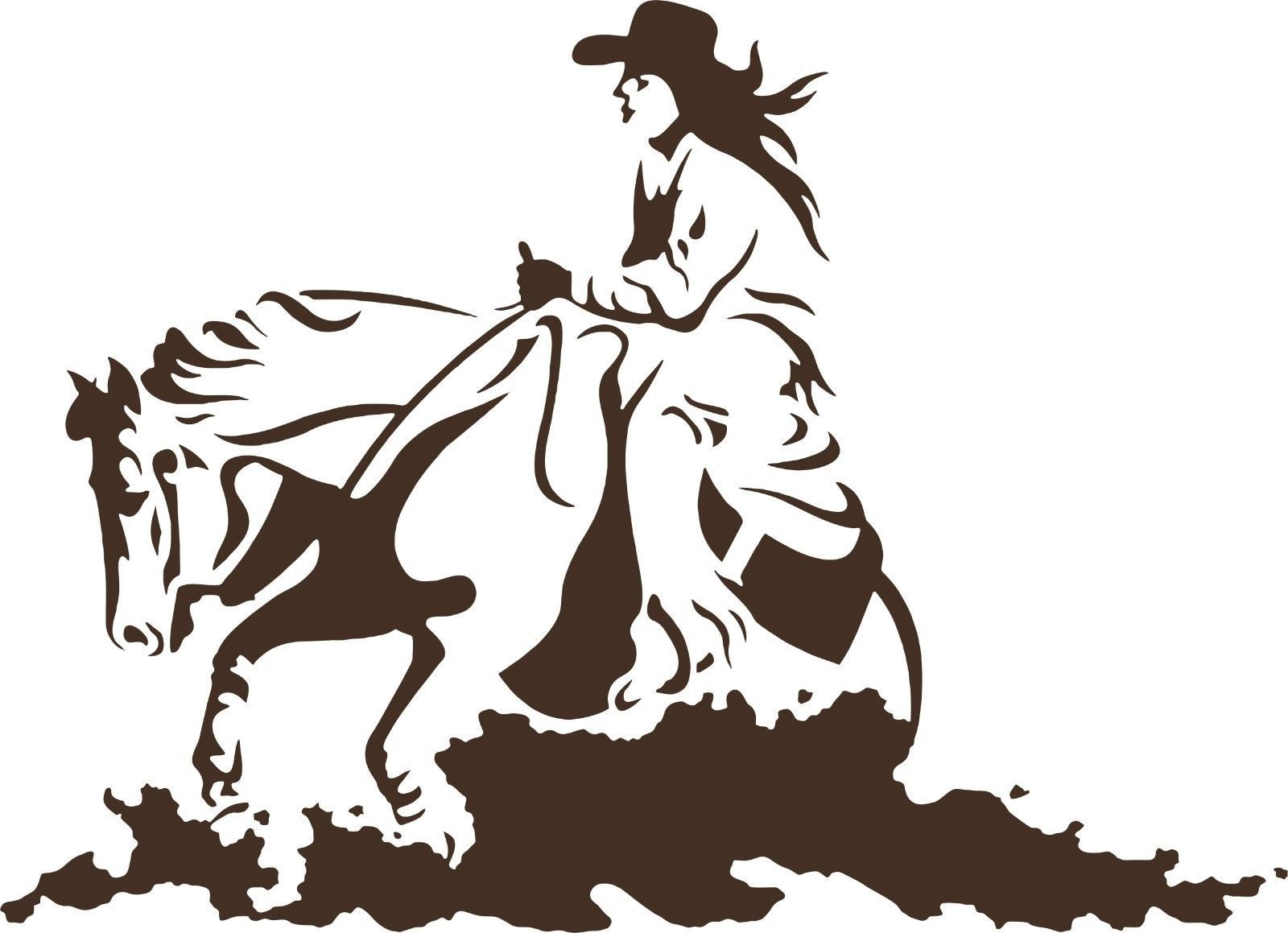 Cowgirl horse rodeo western cowboy car truck window laptop vinyl decal sticker