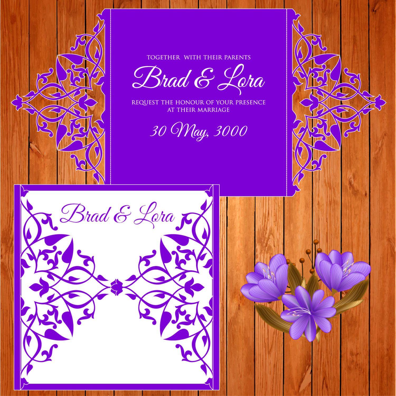 Invitación de la boda tarjeta plantilla, figuras, hojas (ai, eps ...