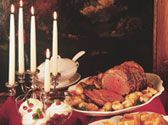"A standing rib roast is a very special treat and traditional holiday fare. This one is served with a thin gravy called ""jus."" Don′t overcook the meat!"