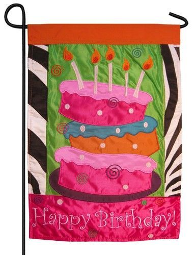 Happy Birthday Cake Double Applique Garden Flag