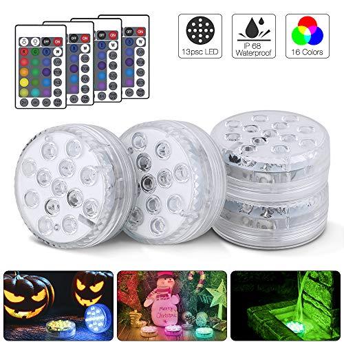 13 LED submersible RGB Waterproof Wedding Party Vase Base Light /& Remote 4PACK