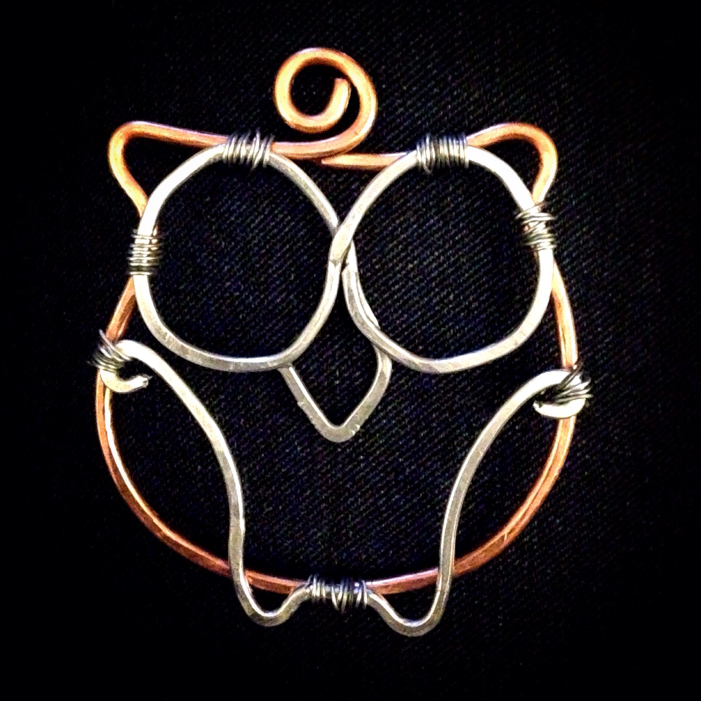 Owl Wire Pendant In Copper And Aluminum