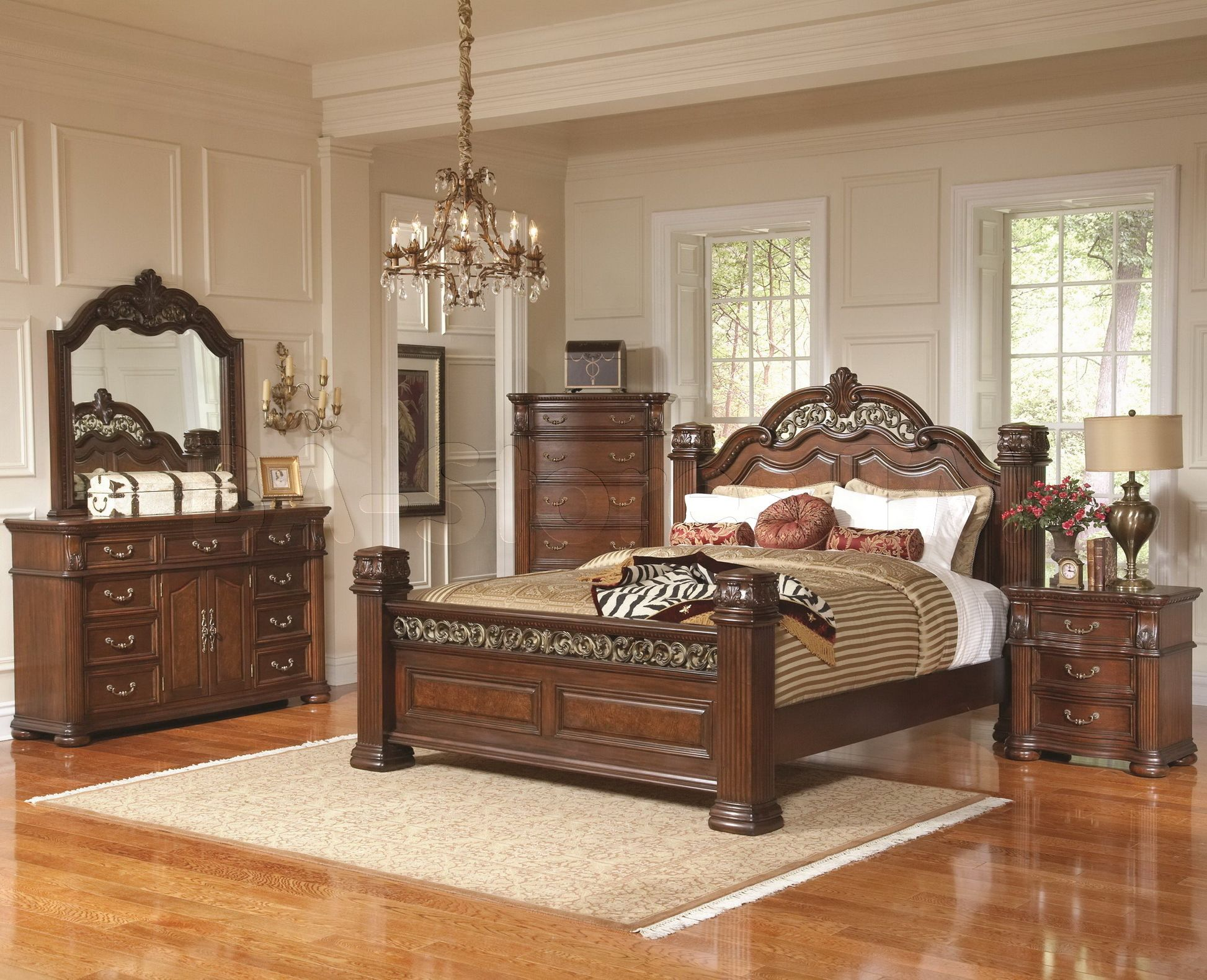 Luxurious Wooden Master Bed And Vanities Bedroom Design Also Smart Bedroom Rugs On Glossy Woo Master Bedroom Furniture Bedroom Furniture Sets Wooden Bed Design