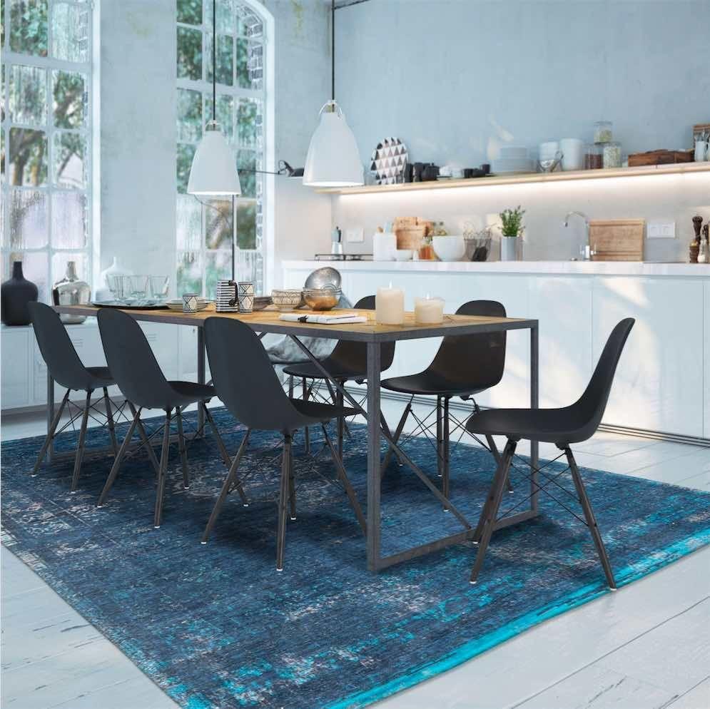 Louis De Poortere Fading World Rug Blue Night Interior Modern Rugs Fashion Room