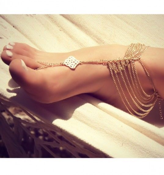 gold chain foot anklet/ barefoot sandal ♥