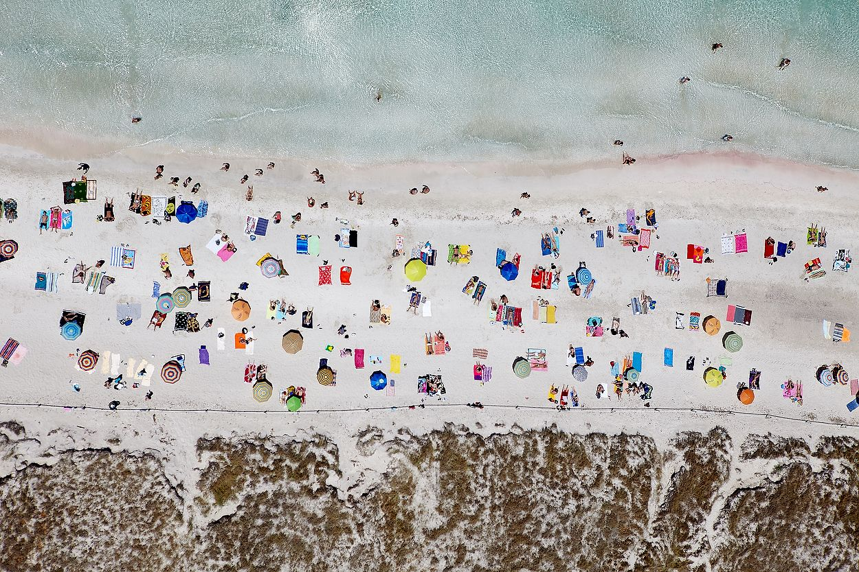 Aerial view of the beach of Illetes, Formentera.