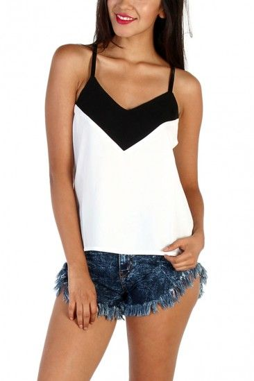 LoveMelrose.com From Harry & Molly | Two Tone Sleeve less top - Black / White