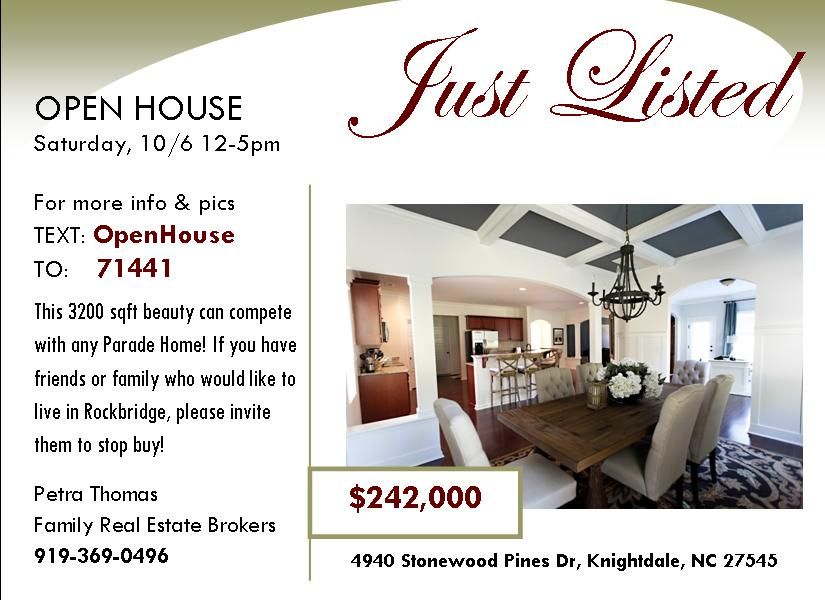 Open House Invitation Created By Family Real Estate Brokers For